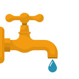 Water tap with falling drop Royalty Free Stock Photos