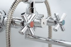 The water tap, faucet for the bathroom stock photo