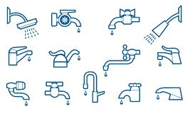 Water tap or faucet line icons set Royalty Free Stock Photography