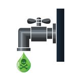 Water tap or faucet with poison drop. Water tap with green poison droplet pouring out Stock Image