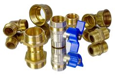 Water tap and fittings for water supply. Plumbing fixtures and piping parts. Sanitary and technical works. Copy spaces Royalty Free Stock Images