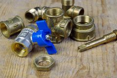 Water tap fittings for water supply. Sanitary and technical works Royalty Free Stock Images