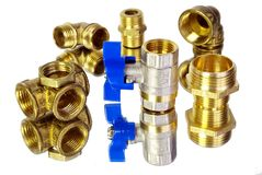 Water tap and fittings for water supply. Plumbing fixtures and piping parts. Sanitary and technical works. Copy spaces Royalty Free Stock Photography