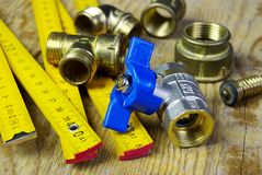 Water tap fittings for water supply. Sanitary and technical works Stock Photography