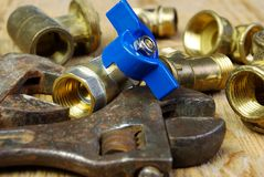 Water tap fittings for water supply. Sanitary and technical works Royalty Free Stock Photography
