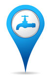 Water tap icon. Blue water tap icon location Royalty Free Stock Photos