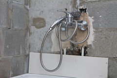 Water tap installation Royalty Free Stock Photo