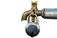 Water tap with lock. Detail this tap shows to avoid water wastage with clipping path Royalty Free Stock Photos