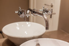 Water tap and marble sink Royalty Free Stock Photos