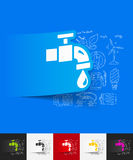 Water tap paper sticker with hand drawn elements Stock Photography