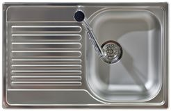Water Tap and Sink Cutout. Stainless Water Tap and Wash Sink Isolated with Clipping path Stock Images
