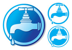 Water tap symbol. Water faucet sign, dripping tap icon, faucet tap with water drop Stock Photography