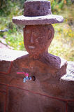 Water tap - traditional sculpture on Taquile Island at Titicaca Royalty Free Stock Photos