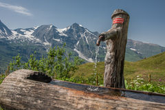 Water tap in a wooden stump in Grossglockner Austria Royalty Free Stock Images