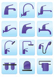 Water taps and accessories. Water taps and bathroom accessories icons set-  illustration Stock Images