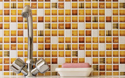Water taps, and a bar of soap. Stock Image