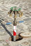 Water taps on a water hydrant. Standpipe with water taps on a water hydrant Stock Photo
