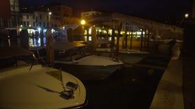 Water Taxi Boats Docked At Night Mooring, Passenger Transportation In Venice Stock Image