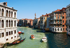 Water taxi on the canal in Venice Royalty Free Stock Photo