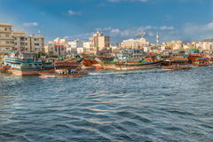 Water taxi crossing the famous Creek in Dubai, UAE Royalty Free Stock Photography