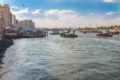 Water taxi crossing the famous Creek in Dubai, UAE Royalty Free Stock Photos