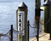 Water Taxi for Hire. Sign, Town Point Park Norfolk, Virginia stock image