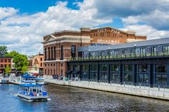 A water taxi and the historic Recreation Pier in Fells Point, Baltimore, Maryland.  royalty free stock photos