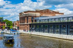 A water taxi and the historic Recreation Pier in Fells Point, Baltimore, Maryland.  royalty free stock images