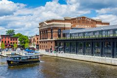 A water taxi and the historic Recreation Pier in Fells Point, Baltimore, Maryland.  royalty free stock photo
