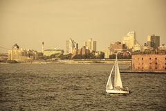 Water taxi passes the Hudson bay Stock Photography