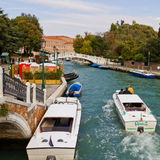 Water taxi at Piazza Roma Venice. Quiet canal with water taxi at Piazza Roma in Venice. Venice spreads over 100 small islands and has 150 canals and over 400 Royalty Free Stock Photos