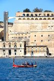 Water taxi and Upper Barrakka Gardens, Malta. Stock Photo