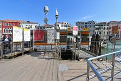 Water taxi or Water bus (Vaporetto) at the pier in Venice, Italy Royalty Free Stock Photography