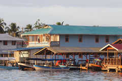 Water taxis at Bocas del Toro at sunrise Stock Image