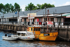 Water taxis in Tigre, Buenos Aires.  royalty free stock photography