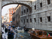 Water Taxis Under Bridge of Sighs, Venice Royalty Free Stock Photos