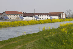 Water and tecnology in the Po Valley. Landscape of the Po Valley with channels of water and photovoltaic panels Stock Photos