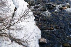 Water tegenover Sneeuw Stock Foto's
