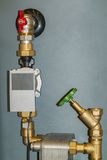 Water Temperature Sensor. Sensor and temperature control in space heating pipes Royalty Free Stock Photo