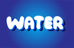 Water text 3d blue white concept vector design logo icon Royalty Free Stock Image