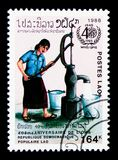 Water, 40th anniversary of W.H.O. serie, circa 1988. MOSCOW, RUSSIA - MARCH 18, 2018: A stamp printed in Lao People`s Democratic Republic shows Water, 40th stock photography