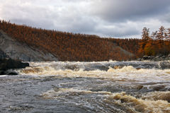 Water threshold on the Siberian taiga river in the fall. Stock Photos