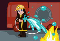 Water To Extinguish Fire. An image of a firefighter standing in front of the fire engine and putting out a blaze with hose Stock Photos