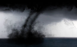 Water tornado. Tropical storm water tornado in the Caribbean Stock Photo