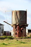 Water Tower. An old abandoned mill area and water tower now used by the Skunk Train in Fort Bragg California off of Hwy 101 in Mendocino County Stock Image
