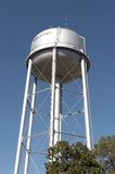 Water Tower. Community water tower with the word welcome on the side Stock Photo