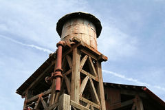 Water Tower. Rustic water tower made of wood and iron stock photography