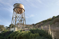 Water Tower at Alcatraz Island Stock Photo