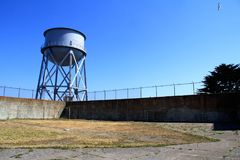 Water Tower at Alcatraz Island Federal Penitentiary Royalty Free Stock Photography