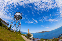 Water tower in Alcatraz island and SF bay. Water tower in Alcatraz prison island in California USA Stock Image